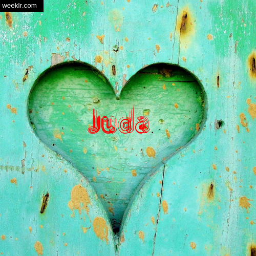 3D Heart Background image with -Juda- Name on it