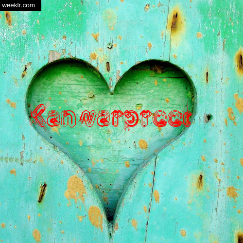 3D Heart Background image with -Kanwarpreet- Name on it