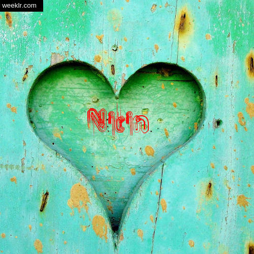 3D Heart Background image with -Nitin- Name on it