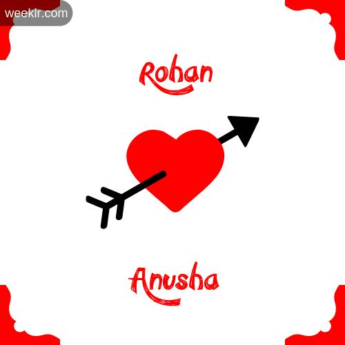 -Rohan- Name on Cross Heart With - Anusha- Name Wallpaper Photo