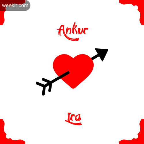 Ankur Name on Cross Heart With  Ira  Name Wallpaper Photo