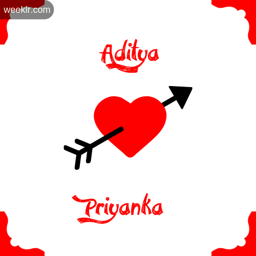 Aditya Name on Cross Heart With  Priyanka  Name Wallpaper Photo