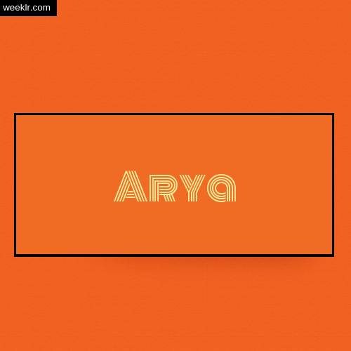 Arya Name Logo Photo - Orange Background Name Logo DP