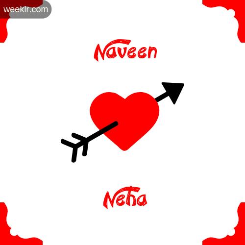 -Naveen- Name on Cross Heart With - Neha- Name Wallpaper Photo