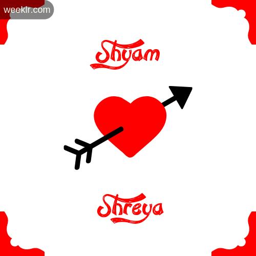 -Shyam- Name on Cross Heart With - Shreya- Name Wallpaper Photo