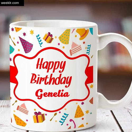 Genelia Name on Happy Birthday Cup Photo Images
