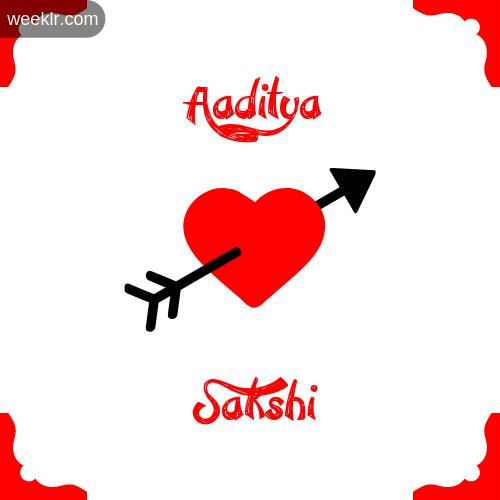 Aaditya Name on Cross Heart With  Sakshi  Name Wallpaper Photo