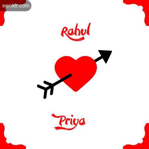 Rahul Name on Cross Heart With Priya  Name Wallpaper Photo
