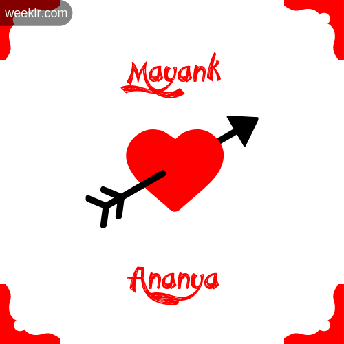Mayank Name on Cross Heart With  Ananya  Name Wallpaper Photo