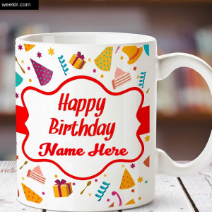 Write Name on Happy Birthday Mug Photo Card