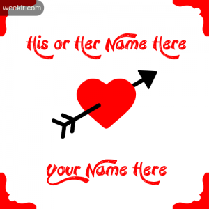 Write Your and Lover Name on Cross Arrow Heart Wallpaper Photo
