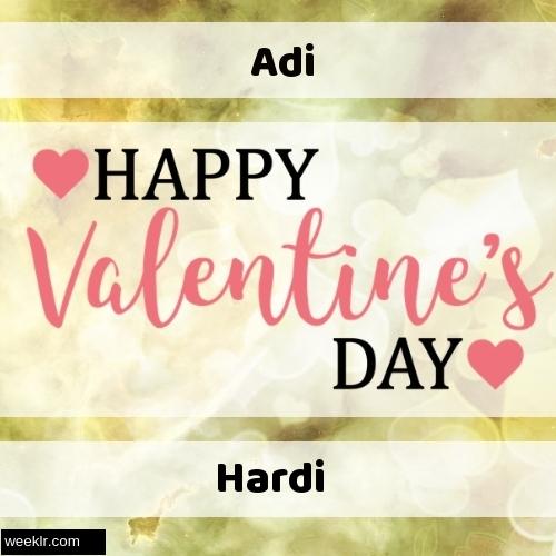 Write -Adi-- and -Hardi- on Happy Valentine Day Image