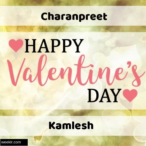 Write -Charanpreet-- and -Kamlesh- on Happy Valentine Day Image