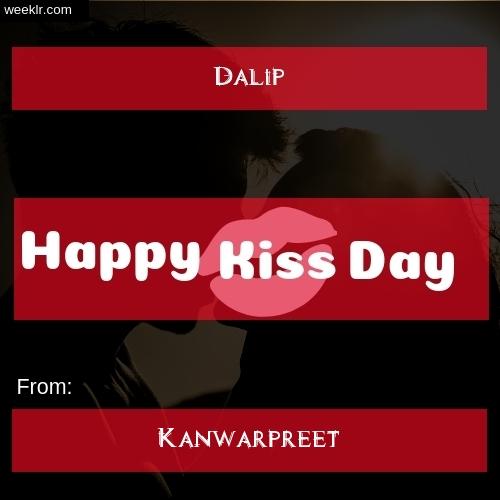 Write -Dalip- and -Kanwarpreet- on kiss day Photo