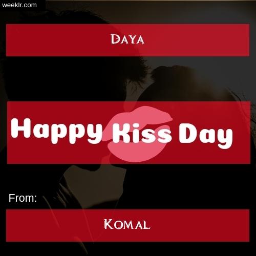 Write -Daya- and -Komal- on kiss day Photo