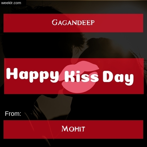 Write -Gagandeep- and -Mohit- on kiss day Photo