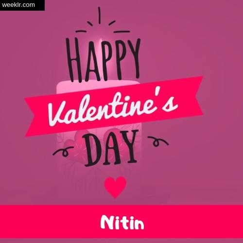 Write -Nitin- Name on Happy Valentine Day Photo Card