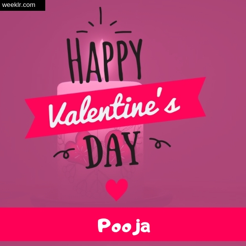 Write -Pooja- Name on Happy Valentine Day Photo Card