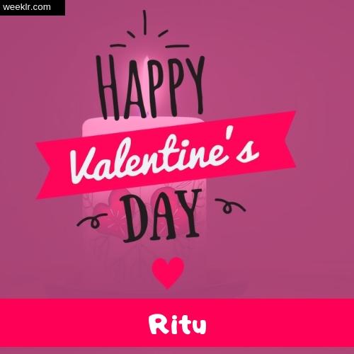 Write -Ritu- Name on Happy Valentine Day Photo Card