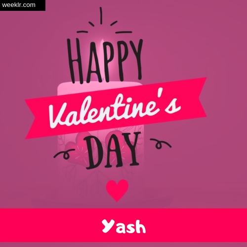 Write -Yash- Name on Happy Valentine Day Photo Card