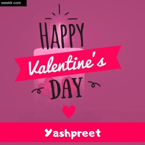 Write -Yashpreet- Name on Happy Valentine Day Photo Card